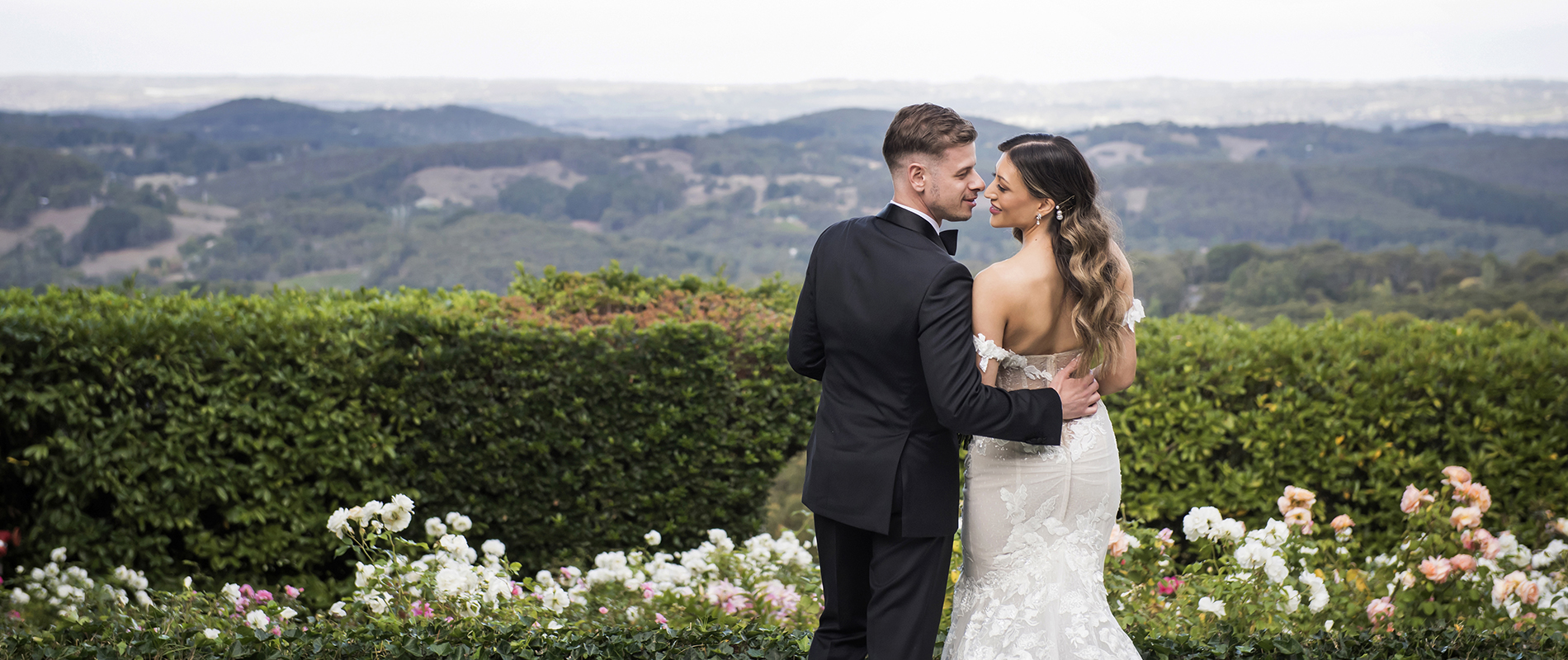 Bride and groom at mount lofty house on their wedding day